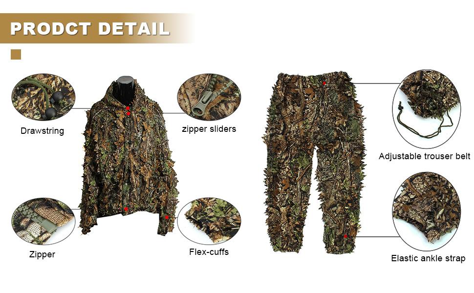 Amazon.com: OUTERDO 3D Leafy Ghillie Suit Woodland Camo ...