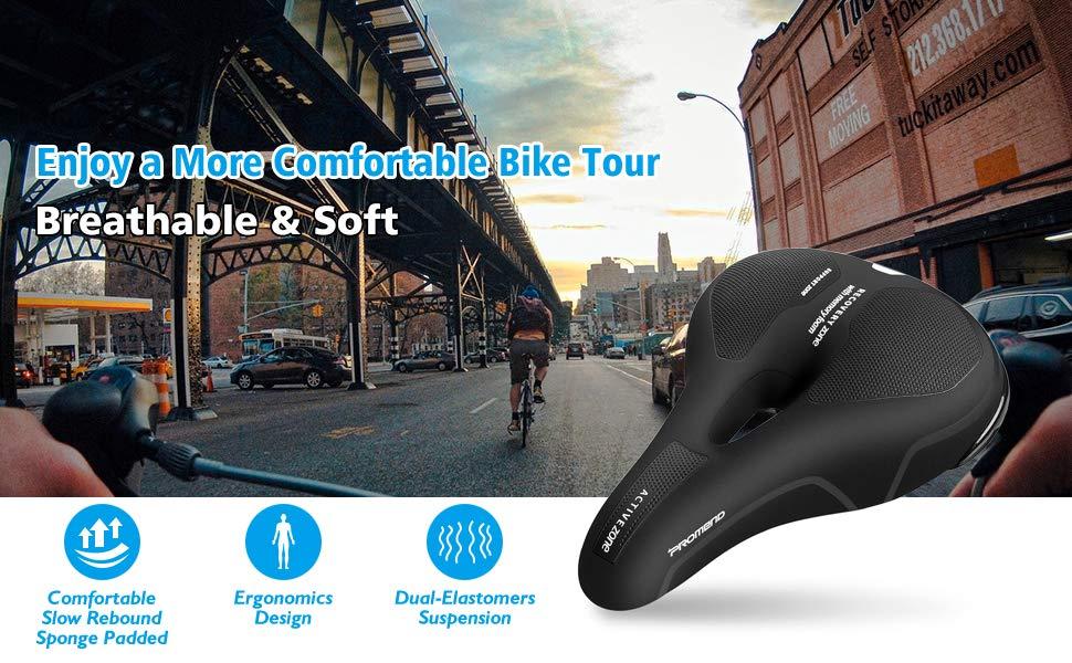 impermeable y reflectante C/ómodo Asineto Ergon/ómico Bicicleta de Carretera//monta/ña//Urbana//MTB adecuado para bicicletas de monta/ña adecuado para hombres y mujeres SPGOOD Sill/ín de Bicicleta
