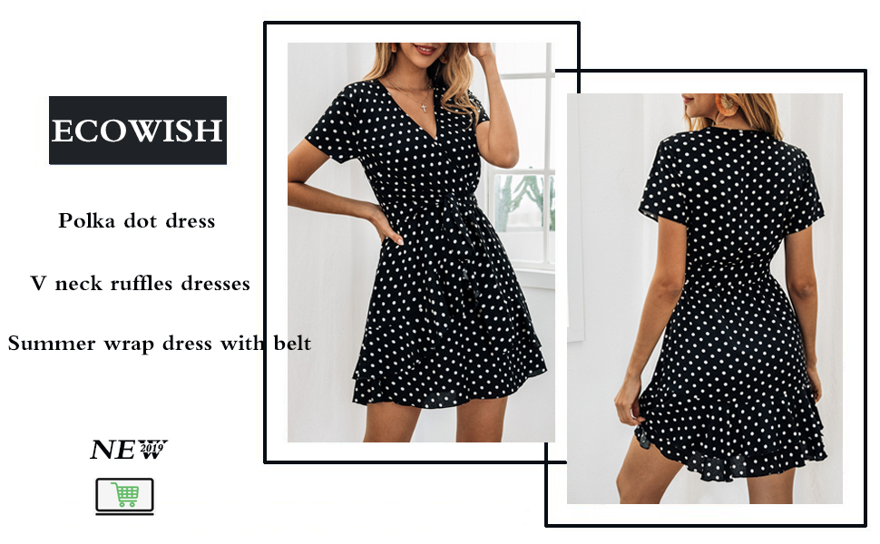 4c49fe990 ECOWISH Women's V Neck Polka Dot Ruffles Mini Sexy Dress Short ...