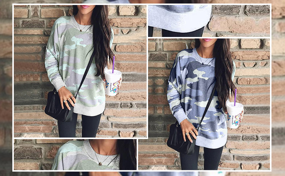 a9787c0c2a ECOWISH Women s Camouflage Print Casual Leopard Pullover Long Sleeve  Sweatshirts Top Blouse