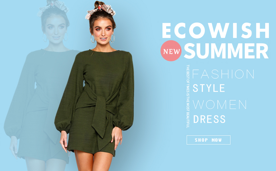 c29228c6974 ECOWISH Womens Dresses Casual Long Lantern Sleeve Tie Front Crew Neck  Bodycon Mini Dress --- Tie Front