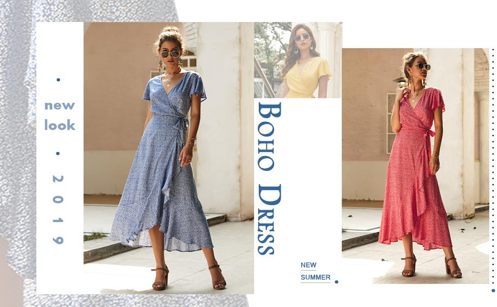 d3fdea883d ECOWISH Women's Dresses Bohemian Floral Printed V Neck Short Sleeve Ethnic  Style High Split Beach Maxi Dress