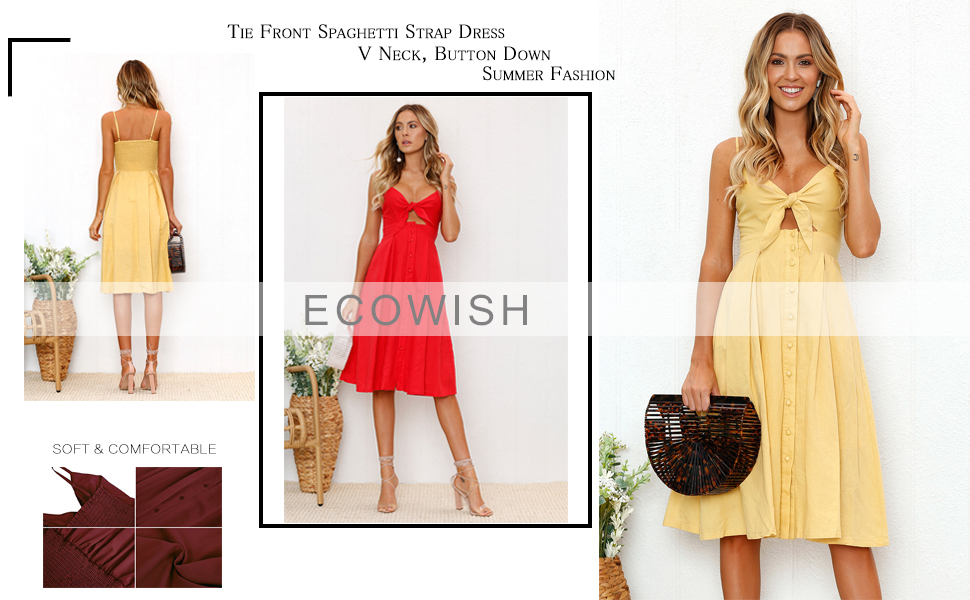ef30a6c2d8 ECOWISH Womens Dresses Summer Tie Front V-Neck Spaghetti Strap Button Down  A-Line Backless Swing Midi Dress
