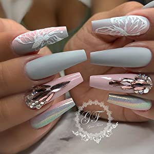 Coffin Nails Long Fake Nails - Clear Acrylic Nails Coffin Shaped Ballerina Nails Tips BTArtbox 500pcs Full Cover False Nail with Case for Nail Salons ...