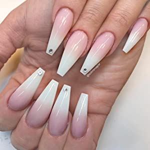 Coffin Nails Long Fake Nails , Clear Acrylic Nails Coffin Shaped Ballerina  Nails Tips BTArtbox 500pcs Full Cover False Nail with Case for Nail Salons