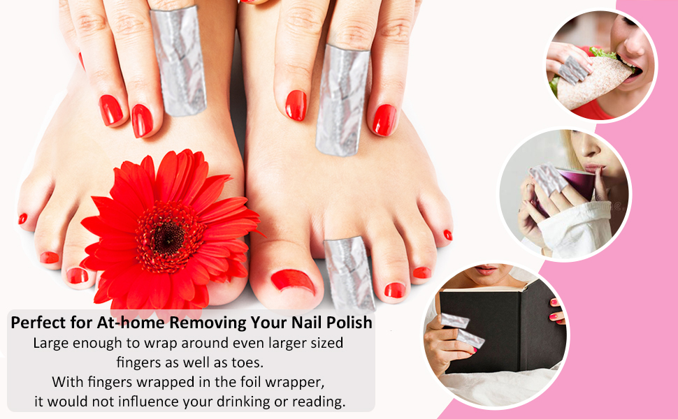 Gel Nail Polish Remover - Nail Foil Wraps BTArtbox Gel Nail Remover Wraps 200Pcs Soak Off Gel Remover with 1 Pcs Cuticle Pusher for Removing Nail ...