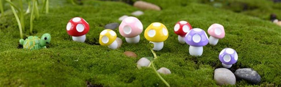 Garden Décor 10pcs Mini Red Mushroom For Plant Pots Fairy Decor Garden Dollhouses Home Office Fast Color