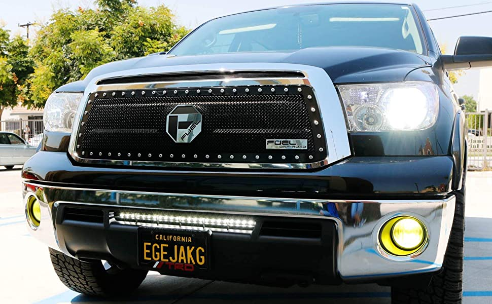 Ijdmtoy Lower Bumper 25 Inch Led Light Bar Kit For 07 13 Toyota Tundra Pre Lci Includes 72w High Power Cree Led Light Bar Set Of Hidden Lower