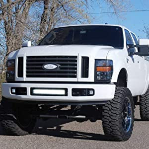 Ijdmtoy Lower Grille 20 Inch Led Light Bar Kit For 2008 2010 Ford F250 F350 F450 Super Duty Includes 1 120w Led Lightbar Lower Bumper Opening