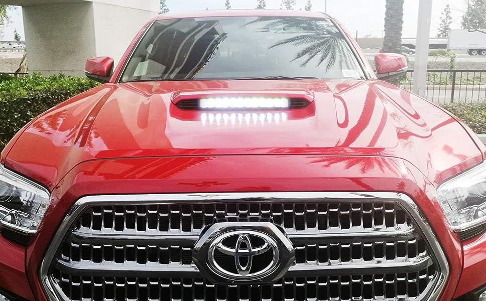 iJDMTOY Hood Scoop 60W LED Light Bar Kit For 2016-up Toyota Tacoma w/Hood Scoop Bulge
