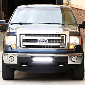 Ijdmtoy Lower Grille Mount Led Light Bar Kit For 2009 14 Ford F 150 Or Raptor Includes 1 96w High Power Led Lightbar Lower Bumper Opening Mounting