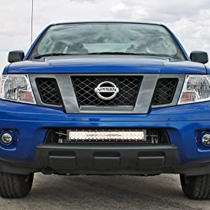 Ijdmtoy Lower Grille 20 Inch Led Light Bar Kit For 2004 18 Nissan Frontier Includes 1 120w Led Lightbar Lower Bumper Opening Mounting Brackets