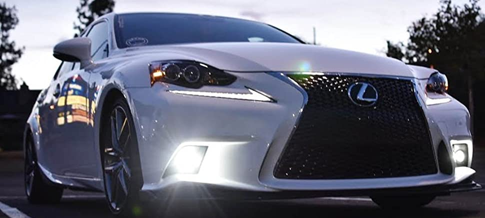 IJDMTOY Lexus F Sport 15W High Power Projector LED Fog Light Kit For 2014 2016  Lexus IS200t IS250 IS300 IS350, 6000K Xenon White