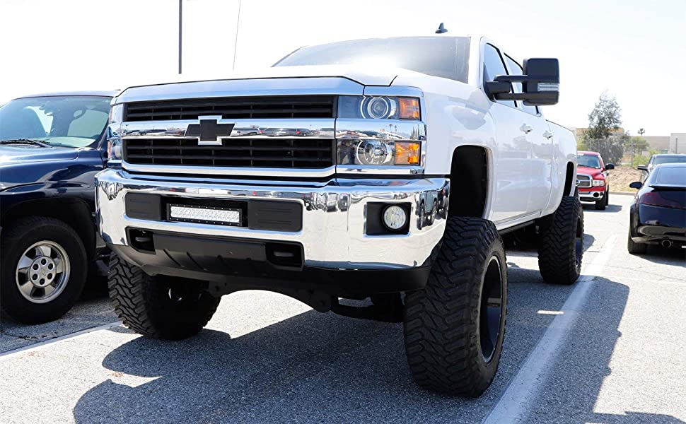 Ijdmtoy Lower Grille Mount Led Light Bar Kit For 2015 Up Chevy Silverado 2500 3500 Hd Includes 1 96w High Power Led Lightbar Lower Bumper Opening