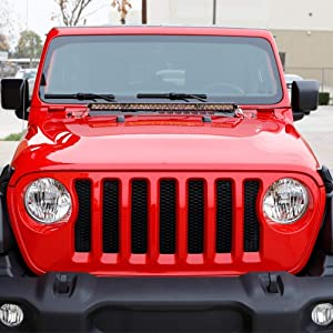 "iJDMTOY Hood Mount 30"" LED Light Bar Kit For 2018-up Jeep Wrangler JL"