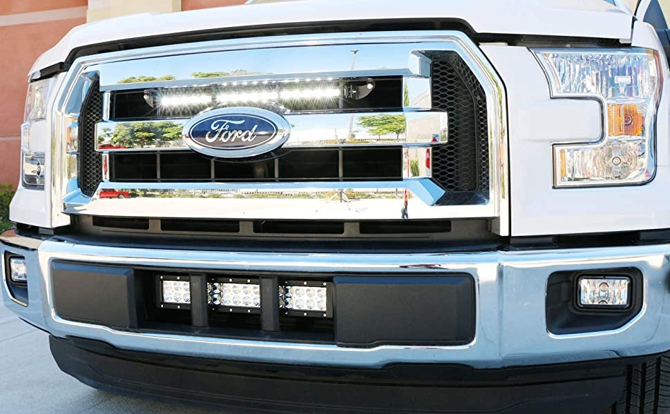 Ijdmtoy Behind Grille Mount 20 Inch Led Ultra Slim Light Bar Kit For 2015 17 Ford F150 Includes 1 54w High Power Led Lightbar Inside Grill Area