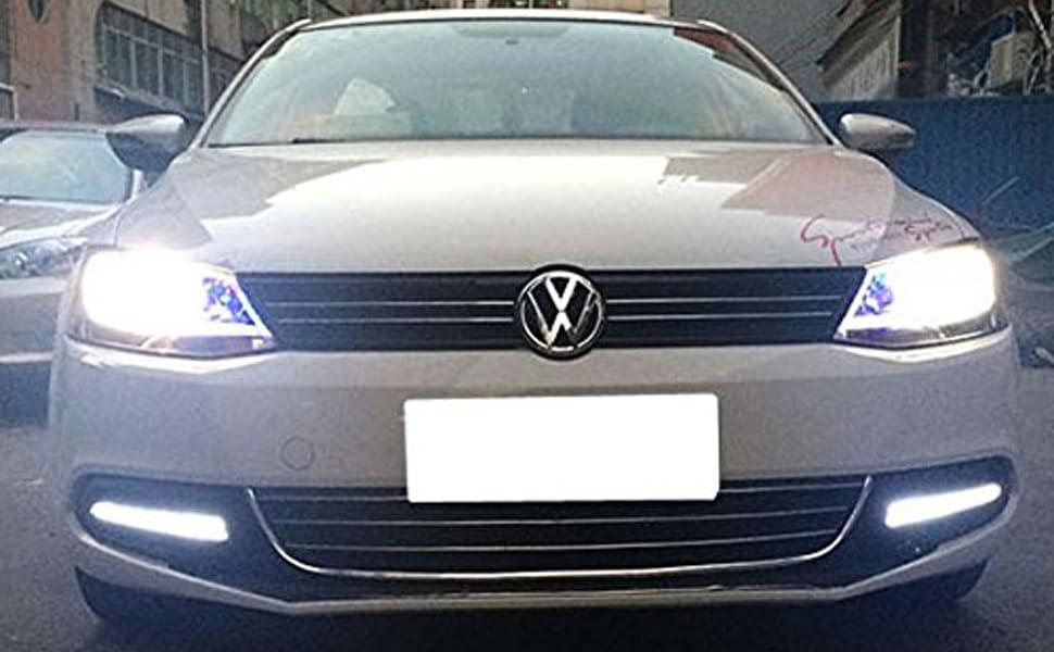 Ijdmtoy Xenon White Led Daytime Running Lights For 2011 2014 Volkswagen Jetta Oem Fit Drl Bezel Assembly Powered By 9 High Power Led Lights Each