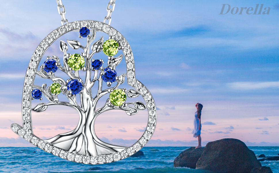 September Birthstone Created Blue Sapphire Jewelry Love Heart The Tree of Life Necklace for Her Women Dorella DN-A06PSR
