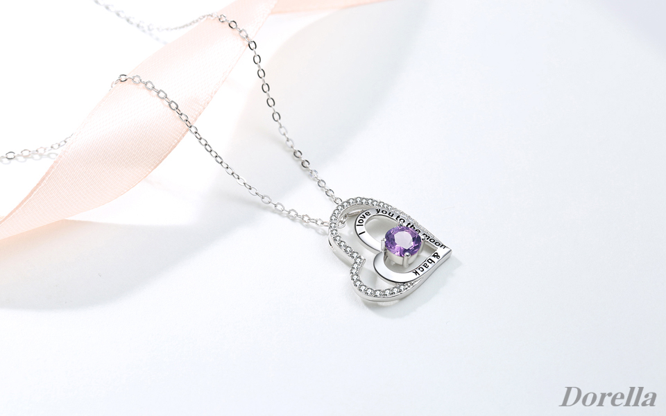 Amazon double love hearts pendant jewelry gifts for women double love hearts necklace natural amethyst gemstone february birthstone pendant fine jewelry necklace gifts for women for her with 182 chain aloadofball Gallery