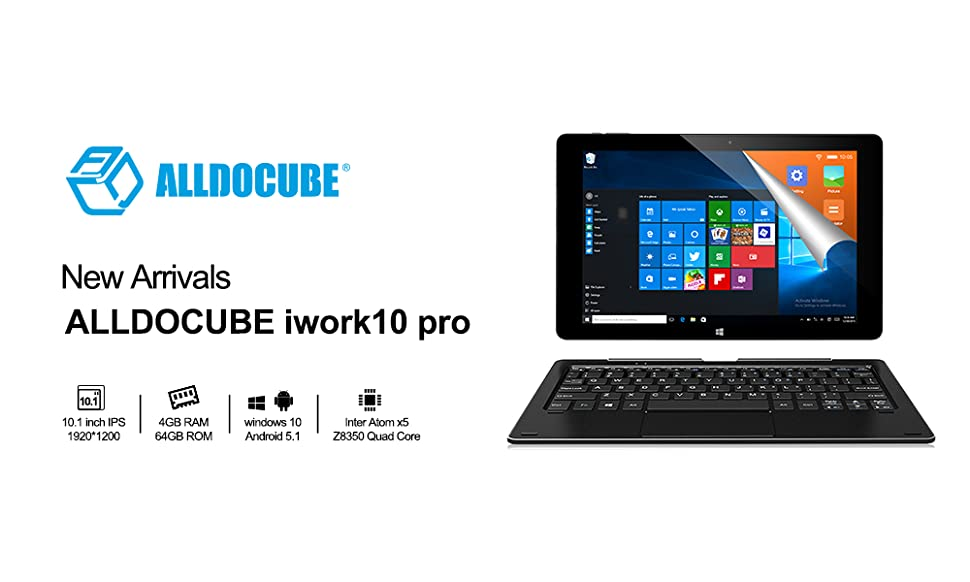 ALLDOCUBE iwork10 Pro 2-in-1 Tablet PC with Keyboard, 10 1 inch Laptop,  1920x1200 IPS Screen, Windows 10 + Android 5 1, Intel Atom X5 Z8350 Quad  Core,