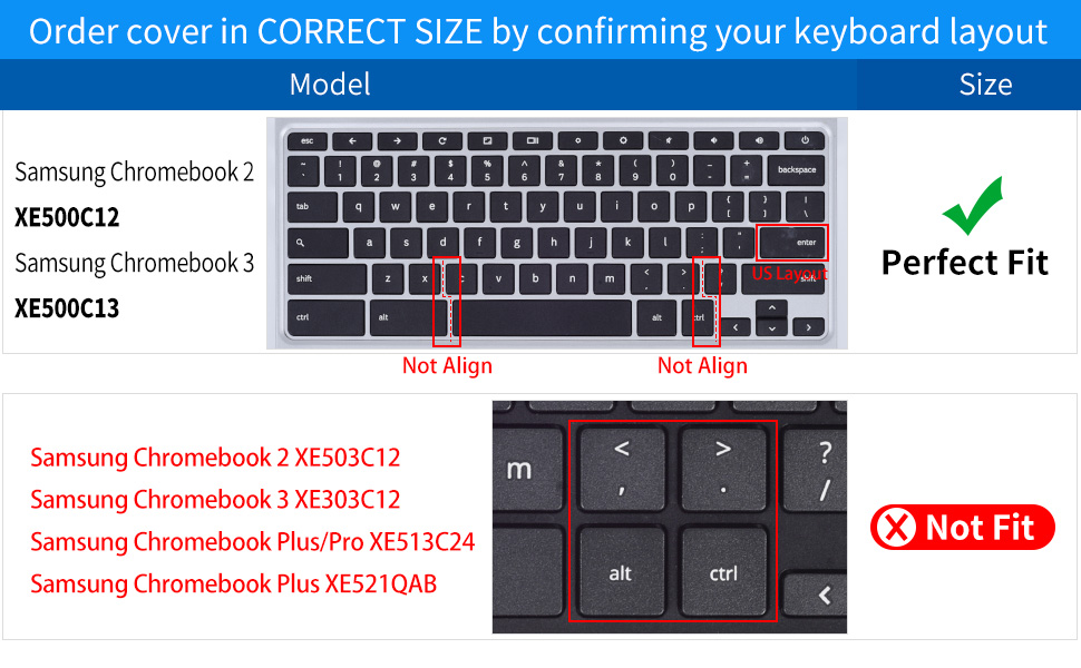 CaseBuy Keyboard Cover Skin Compatible 2019/2018/2017 Samsung Chromebook 3  XE500C13 XE501C13 11 6 inch / 11 6
