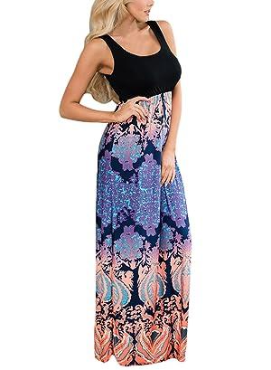 Sleeveless maxi dress with chevron print bottom