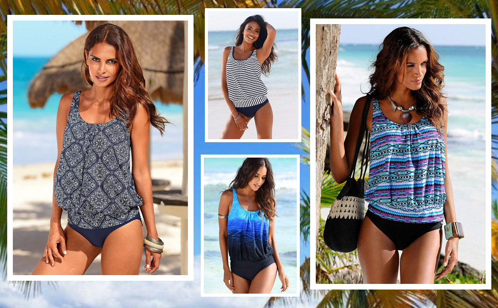 d6bf997826517 Two Pieces Tribal Printed Flounce Tankini Sets with Triangle Brief Swimsuit