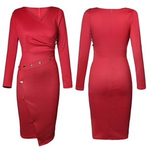 60ae0d64980 Happy Saield Women Wear to Work Dresses V Neck Ruched Button Design  Irregular Wrap Office Dress S-XL