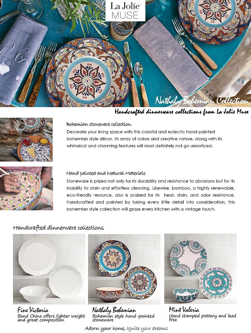 Amazon.com | Stoneware Plate Accent Dinnerware Plates 4 Piece ...