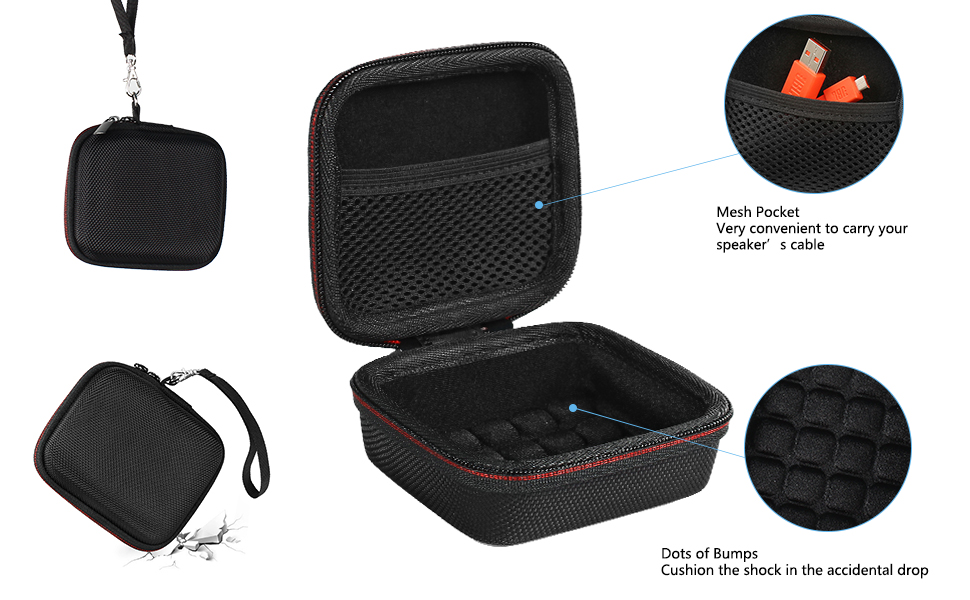 Hard EVA Carry Bag Case Cover for JBL Go 1//2 Bluetooth Speaker Mesh Pocket for Charger and Cables Pushingbest JBL GO 2 Case BlackEVA CaseOnly