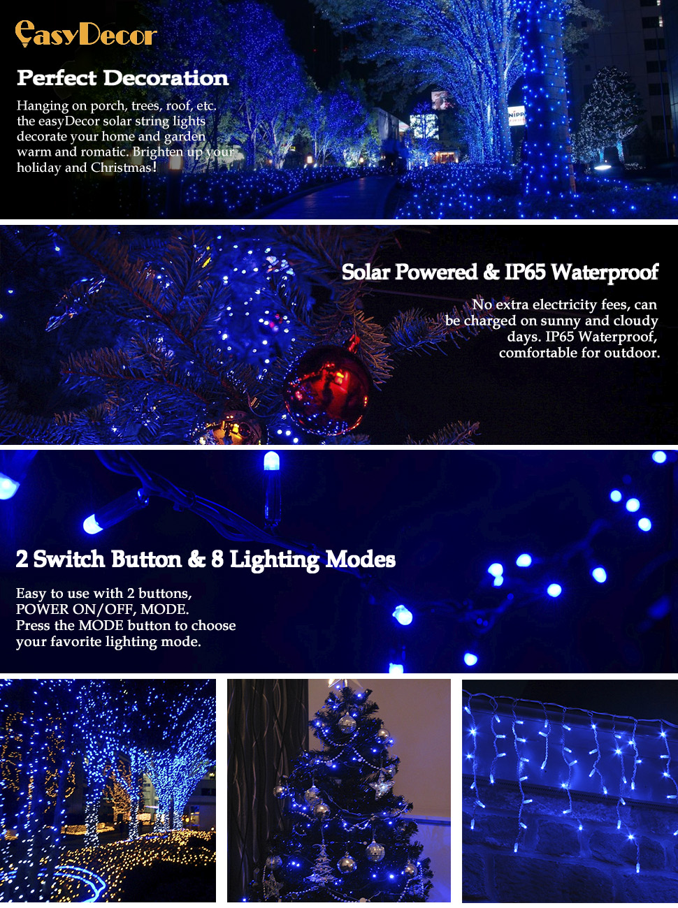 Solar Powered Christmas Lights.Easydecor 2 Pack Solar Christmas Lights 72ft 200 Led Fairy Outdoor String Lights Garden Decorative For Home Lawn Pario Wedding Party And Holiday