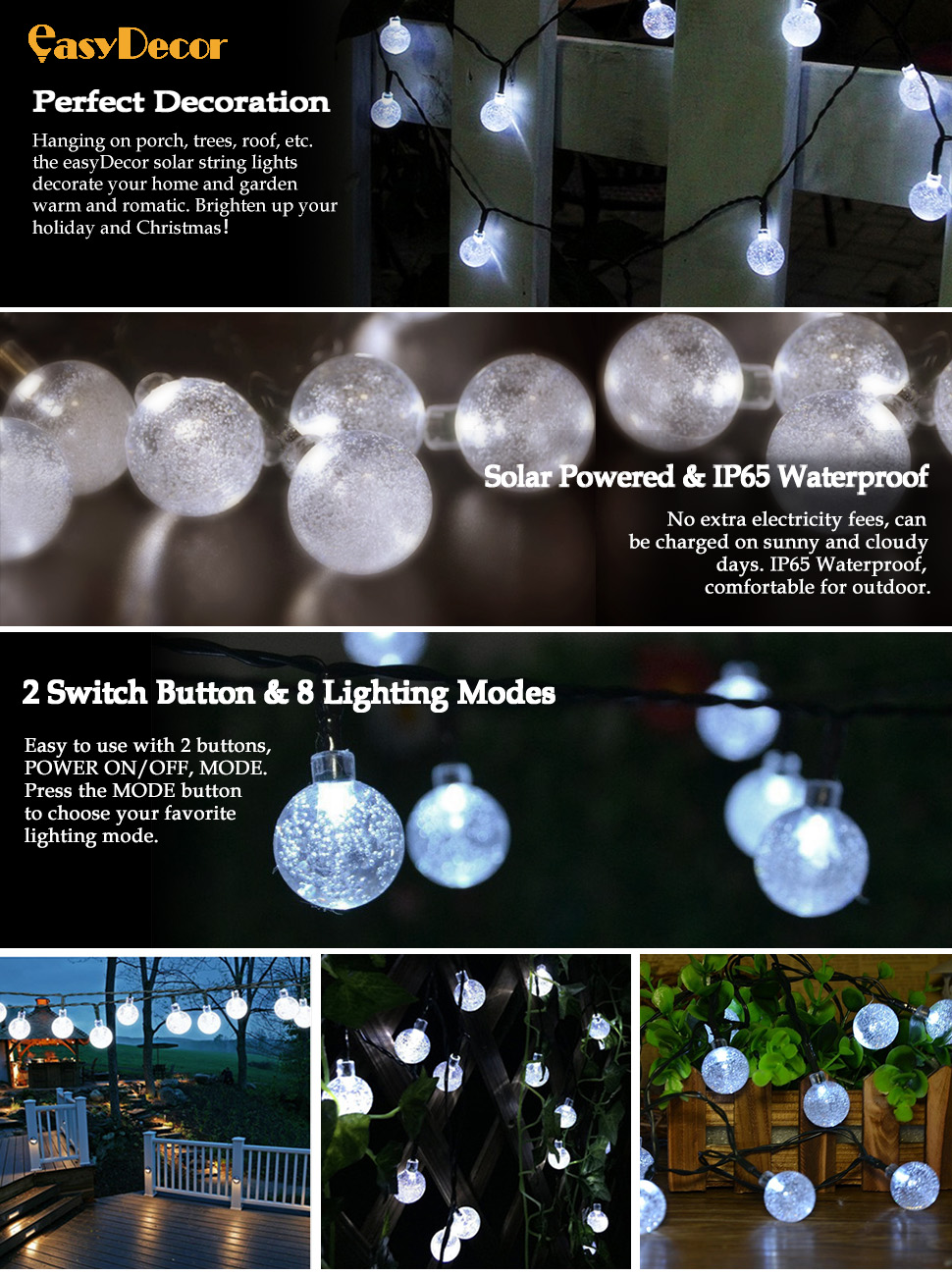 Amazon easydecor globe solar string lights 30 led 21ft 8 mode ip65 waterproof perfect for outdoor and indoor use 2lar powered led light strings no utility energy costs 3tomatically working the string lights workwithnaturefo