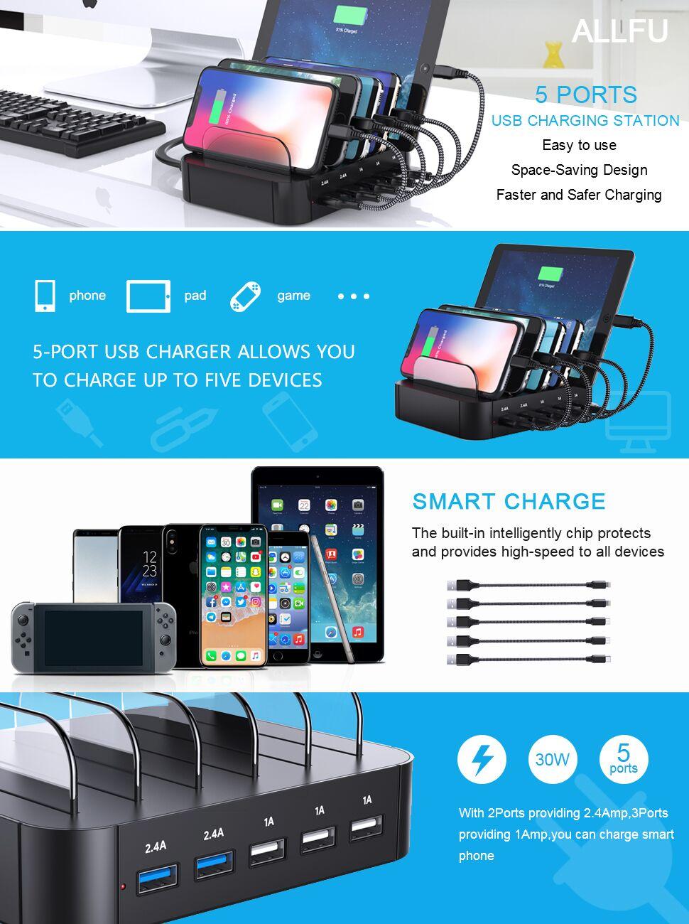 Amazon.com: Charging Station,USB Charging Station Dock ALLFU 5-Port ...