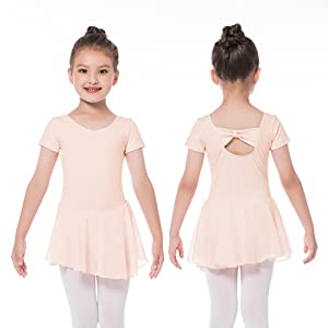 Bezioner Ballet Dress Ballet Leotards with Skirt Dance Tutu Dresses Short Sleeve Skirted Leotard for Toddler Girls Kids