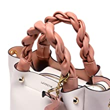 soft leather woven top handles pink