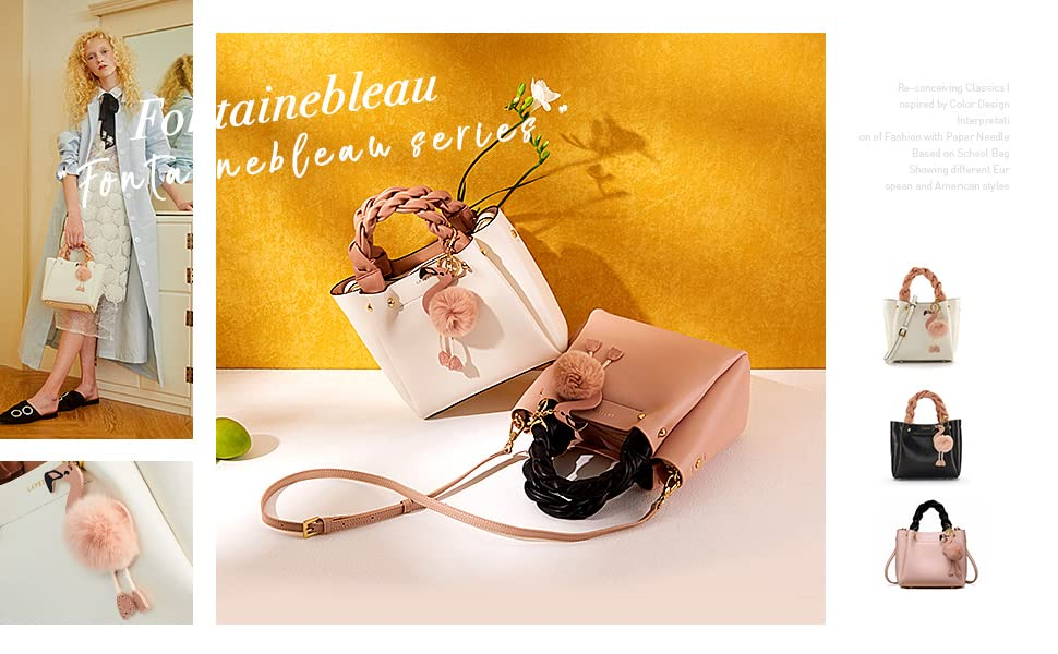 leather top handle bags for women medium size flamingo bucket style pink purse white bag for summer