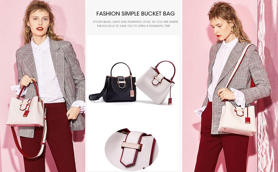 7afd9b9128b3 Amazon.com: LA'FESTIN Leather Bucket Handbags for Women Popular Hit ...