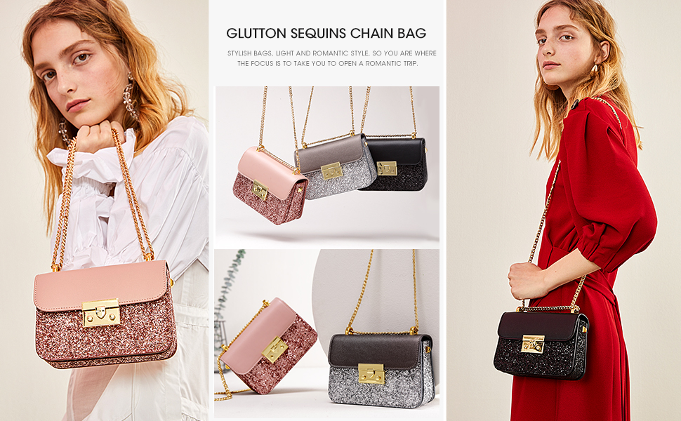 afc302889802 LA'FESTIN Ladies' Fashion Shoulder Chain Purse Small Glitter Side Bag for  Girls PU Leather
