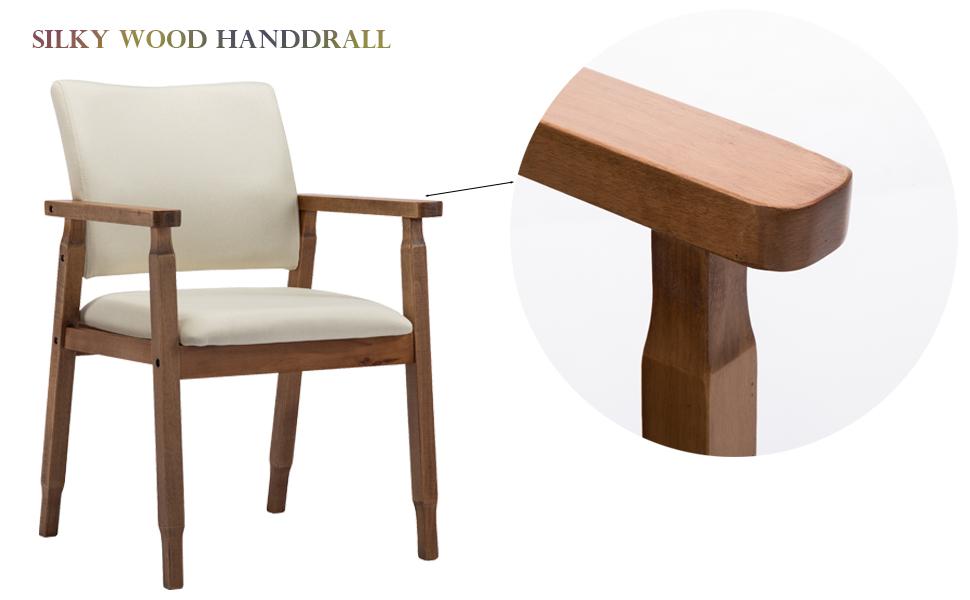Amazon.com: Sillas de comedor de madera con brazo de tela ...