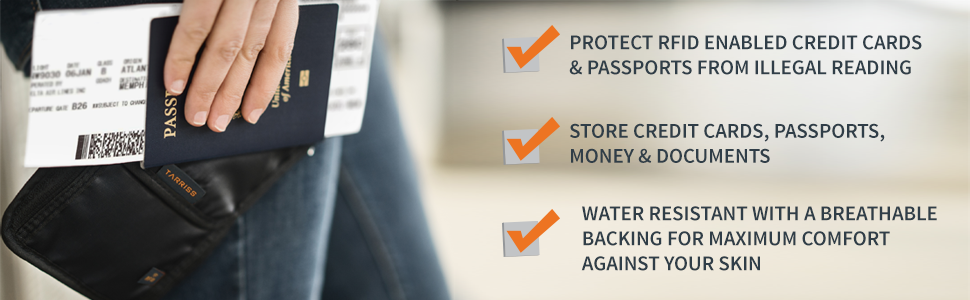 protects, credit cards, passports, water resistant