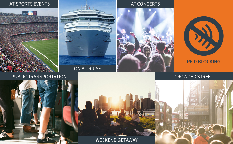 Sporting events, concerts, cruises, public transport, crowds