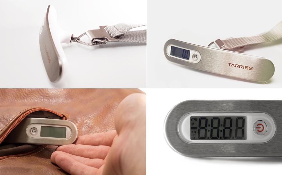 digital display, slim, stainless steel design, fits in bags, digital luggage scale