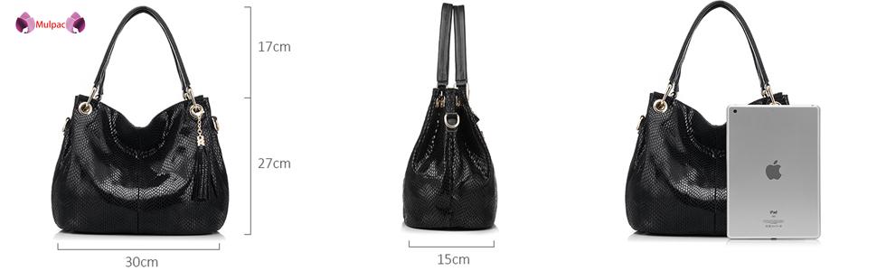 women Soft Leather Hobo Shoulder Bag Ladies Mulpac Top-handle Zipper Purses and Handbags …