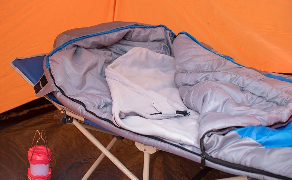 b7c197aeb6 Osage River Microfiber Fleece Sleeping Bag liner blanket with Camp Cot and Sleeping  Bag