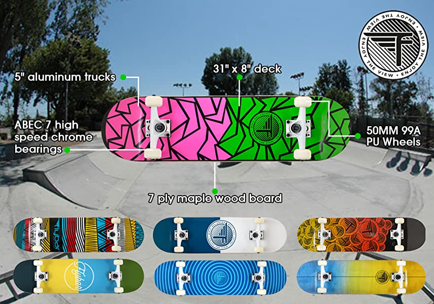 """1d60f15514 Features of Flybar Complete Skateboards. Our decks are a 31"""" x 8"""" concave  board ..."""