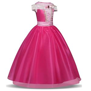 LENSEN Tech Girls Princess Pink Costume Drop Shoulder Halloween Party Long Dress