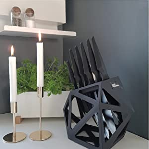 Edge of Belgravia Black Diamond knife block with Precision range next to candles