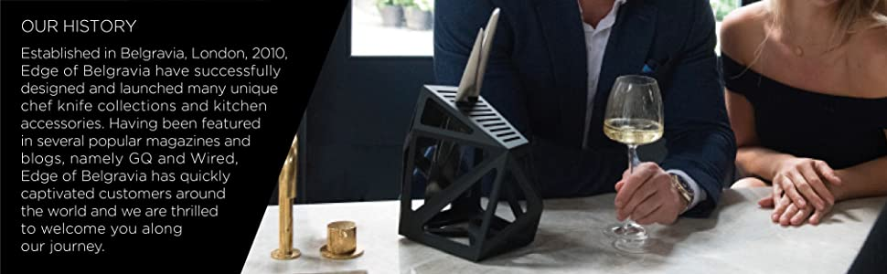 Edge of Belgravia History, picture of the Black Diamond knife block with a glass of wine