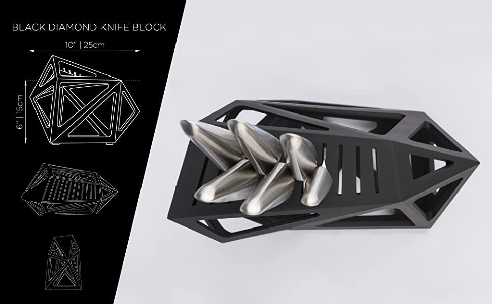 Edge of Belgravia Black Diamond knife block, kitchen knife block dimensions