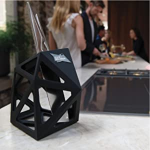 Edge of Belgravia Black Diamond knife block with knives in a modern kitchen